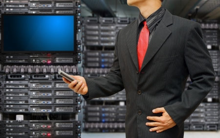 monitoring system: Programmer monitoring system in data center room  Stock Photo