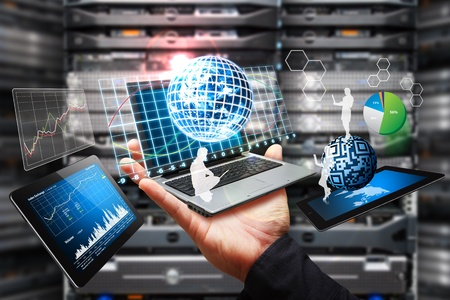 providers: Digital device in data center room Stock Photo