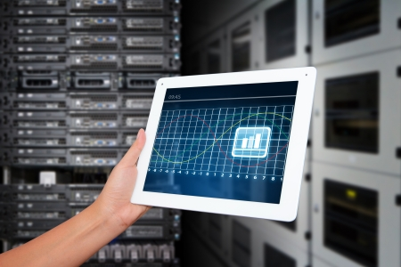Tablet in data center room