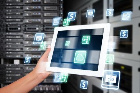 information technology industry: Tablet in data center room