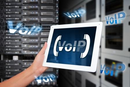 Syst�me VoIP dans la salle du centre de donn�es Banque d'images