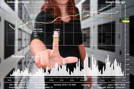 server room: graph report in data center room Stock Photo