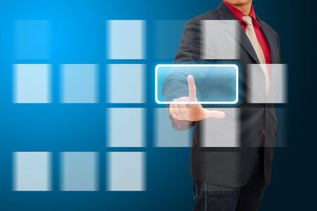e systems: smart hand touch on window icon in data center room Stock Photo