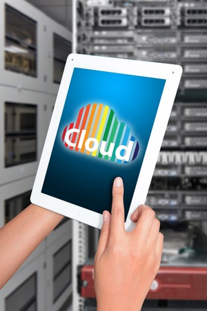 Cloud icon on digital tablet photo