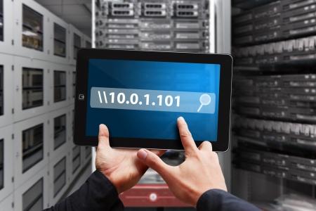 Smart hand press on ip address on tablet