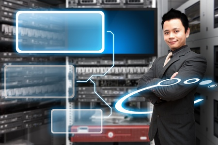 Programmer in data center room and window icon photo
