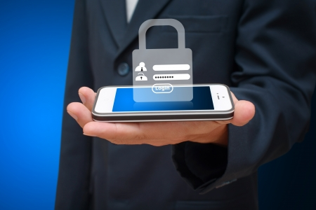 security room: Password security for safety from mobile phone Stock Photo