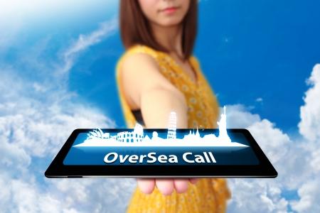 oversea: oversea call on tablet