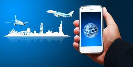 oversea: Smart phone for oversea call Stock Photo