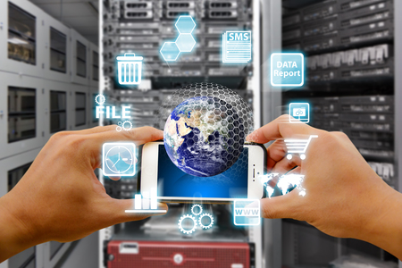 e systems: mart phone and digital world  Stock Photo