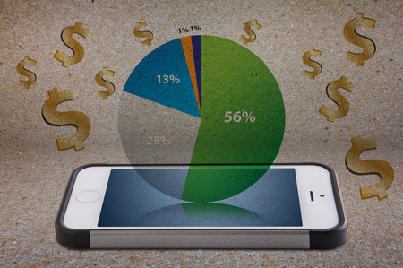 Smart phone and money icon for finance photo
