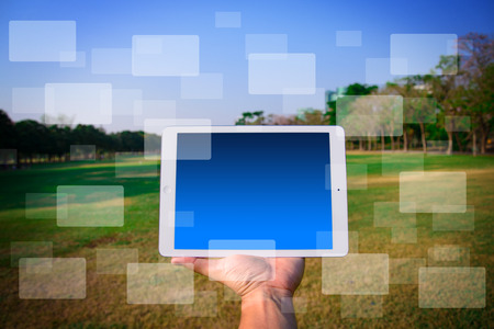 Touch pad and icon Stock Photo