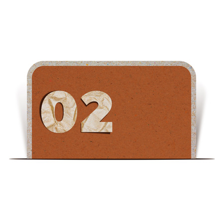 turn yellow: paper number zero two Stock Photo