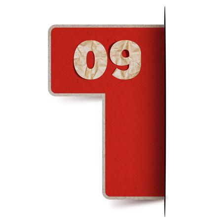 numero nueve: número de papel y nueve