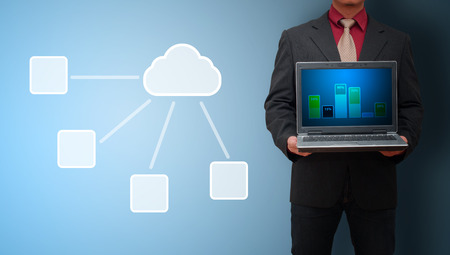 Sharing data for cloud network computer stock concept photo