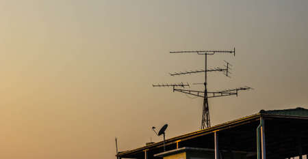 televison: Home antenna on the sky in the evening  Stock Photo