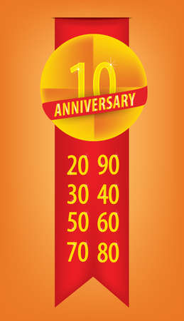 Illustration of anniversary and numbers set  Vector
