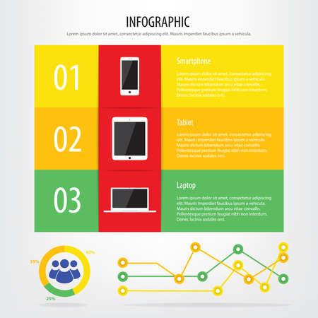 communication devices: Communication devices infographic, smartphone, tablet and laptop  Illustration