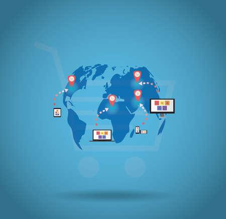 World shopping online via smartphone, tablet, laptop and desktop Vector