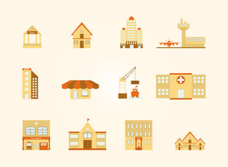 two storey: Buildings in the city icons set,