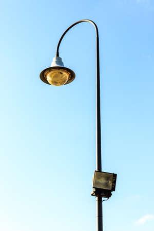 lighting background: Lighting pole on blue sky background Stock Photo