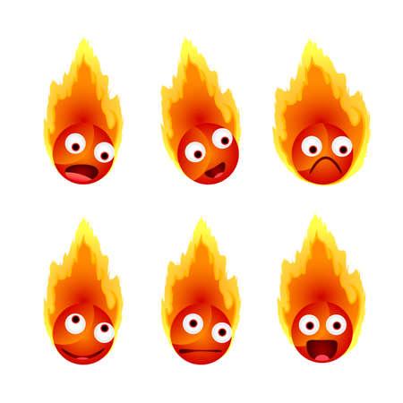 Set of fires face emotions illustration.