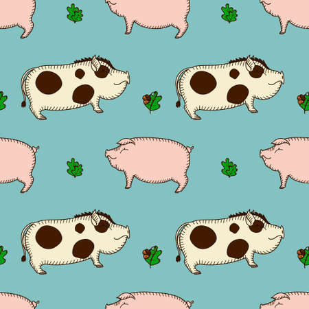 simple seamless vector pattern with pig and boar and oak twig on a blue background in cartoon style