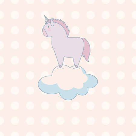 polkadot: little cute unicorn in pastel colors on a background of polka-dot Illustration