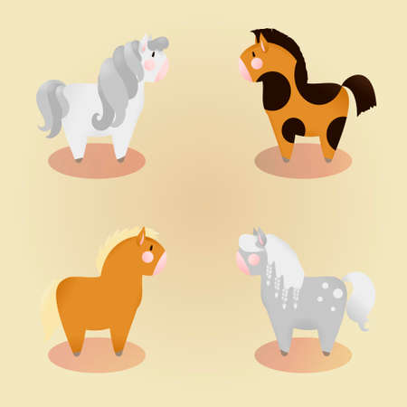 set of 4 little cute pony. Vector isolated illustration Illustration