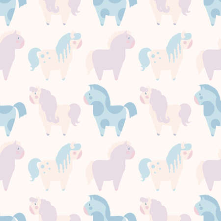 nag: simple seamless pattern with 4 pony in pastel color