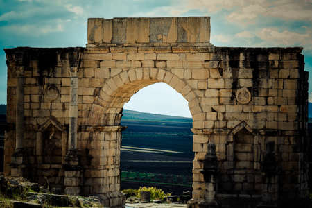 Main portal, part of the archaeological city Volubilis photo