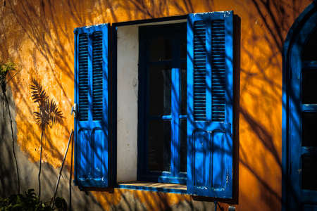 Shade of flower near open blue window