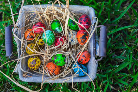 Diverse Easter eggs in a basket, placed on a grass Stock Photo - 18961462