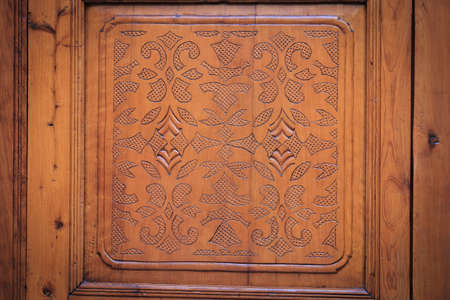 Brown wood-carving door photo