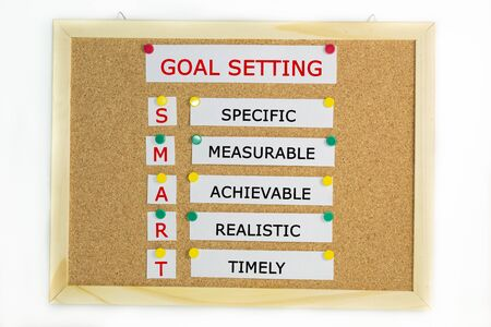 Smart goal setting idea on a pin board with a white background