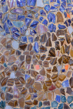 Blue and brown stone wall, Colorful stone background.