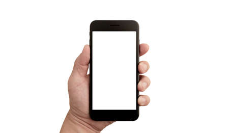 Left hand of a white man holding a black mobile phone and a white screen at a isolate background