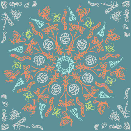 Ornamental round lace pattern, circle patern with many details, crocheting handmade lace, lacy arabesque designs. Orient traditional ornament. The mandala with a beautiful bug.