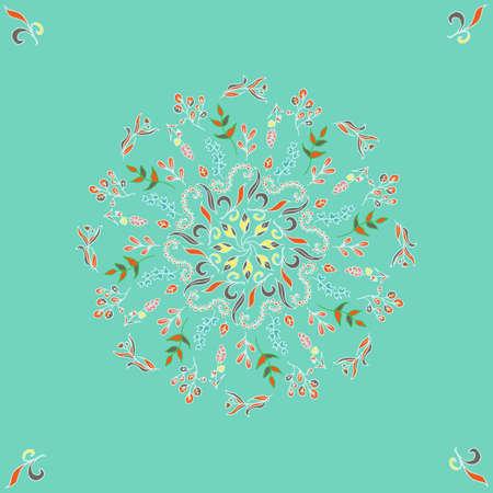 Ornamento rotondo senza cuciture con rami intrecciati, fiori e riccioli. Vettoriali