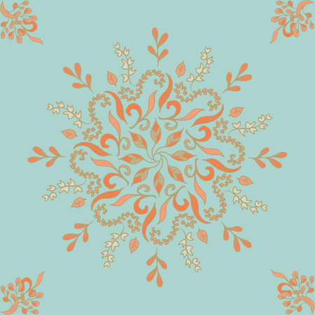 Round seamless pattern ornament with intertwined branches, flowers and curls. Arabesque. Vector circular abstract floral mandalas in white, black and blue colors.