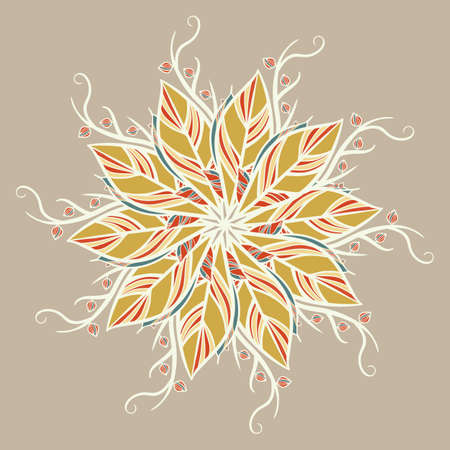 Abstract round ornament, mandala with leaves. Circular botanical motif, pattern isolated on light brown background.