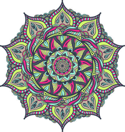 Simple colorful abstract mandala, ethno motive. Bright circular ornament consists of simple shapes. Stylized ethnic motive of East Asia. Vintage decorative elements. Circular ornament..