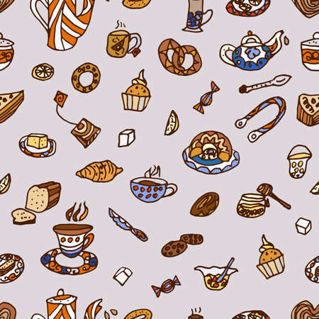 Seamless pattern. summer tea party, hand drawing Stock Photo