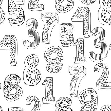 different, with ornament volume black and white Numbers. Seamless vector wallpaper on white.