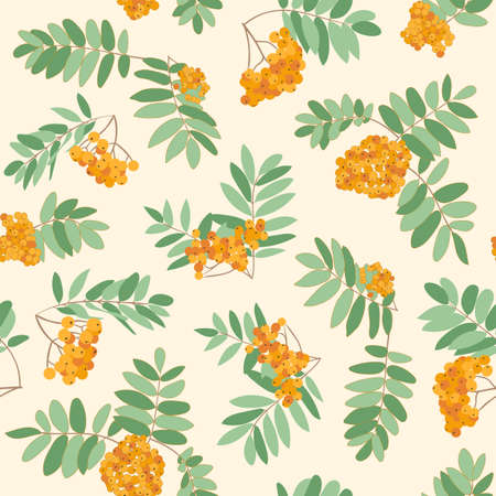 Seamless vector autumn pattern with red and orange berries and leaves. Fall colorful floral background. Elegant floral seamless pattern.Vector rowan berries