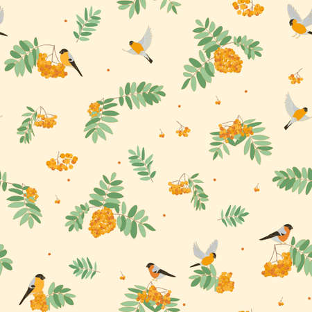 Bullfinches on mountain ash, fly, sit. seamless pattern. orange colors warm colors Ilustração