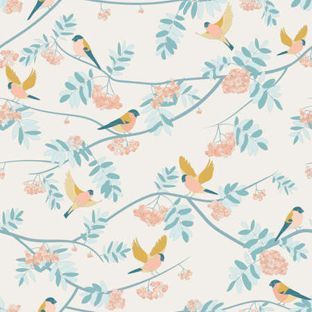 Bullfinches on mountain ash, fly, sit. seamless pattern. orange colors warm colors