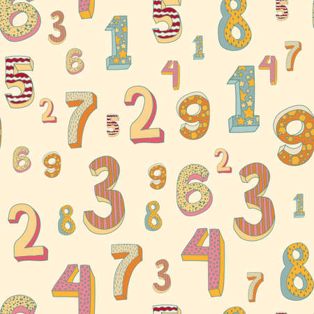 cute colorful numbers pattern. volume numbers with a picture on them, for a birthday, a holiday, to school. mathematics