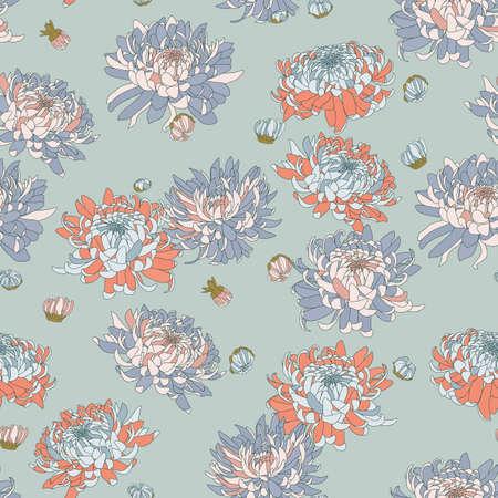 Vector seamless floral pattern. Japanese national flower chrysanthemum. Illustration luxury design, textiles, paper, wallpaper, curtains, blinds