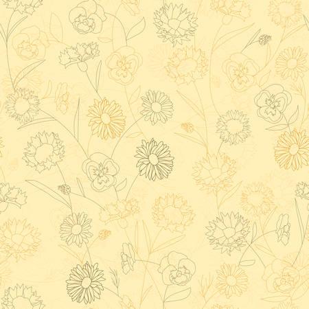 Nahtloses Blumenmuster mit wilden Blumen. Illustration im Vintage-Stil für Dekorationsstoffe, Textilien, Papier, Tapeten. Kamille, Kornblume, Cosme, Stiefmütterchen. Vektorgrafik